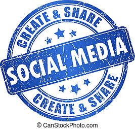 medier, symbol, vektor, sociale