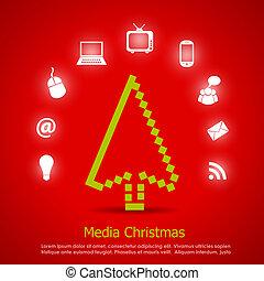 medier, vektor, card christmas