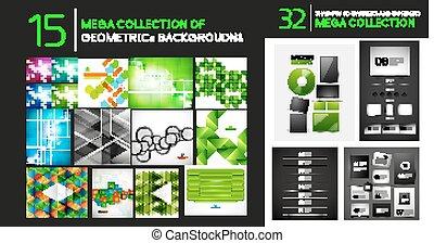 mega, abstrakt, baggrunde, samling, vektor, geometriske, dividers