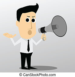 megafon, karakter, cartoon