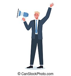 megaphone., beliggende, karakter, specielle, firma, indgåelse
