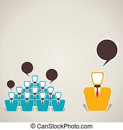 mellem, hold, diskussion, leder