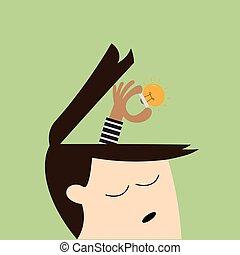 menneske, ideer, lys, oppe, hånd, analogi, røve, pære, picking, anføreren