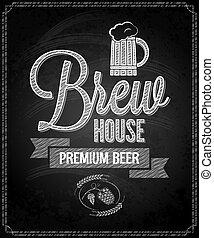 menu, øl, konstruktion, chalkboard, baggrund, hus