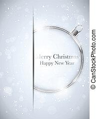 merry, bold, sneflager, -, jul, vektor, stjerner, år, nye, sølv, glade