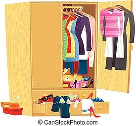 messy, garderobe, beklæde