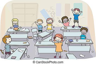 messy, klasseværelse, børn, pind