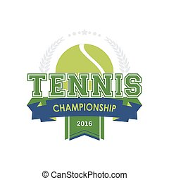 mesterskab, tennis, emblem, vector.