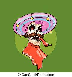 mexikansk, skelet, mexico, sombrero, national, traditionelle, gå med, ferie