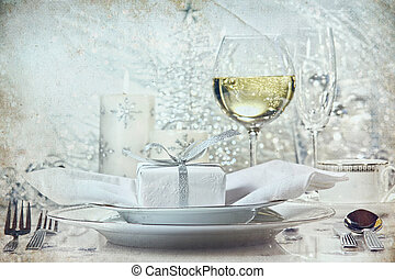 middag, ferier, sæt, sølv, festlige