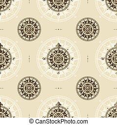middelalderlige, vinhøst, nautiske, seamless, rose, mønster, vind