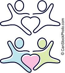 midte, constitutions, folk, to hænder, symbol, vektor, ikon, holde