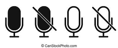 mikrofon, nej, tegn., sort, icon., forbyd, tegn