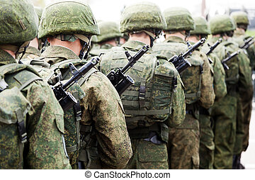 militær, soldat, jævn, række