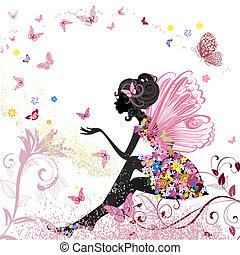 miljø, sommerfugle, blomst, fairy