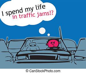 min, liv, trafik, jam!, spend