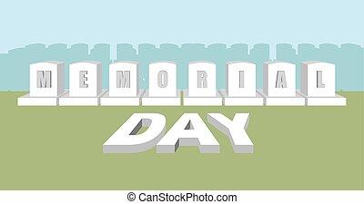 mindesmærke, usa., national, cemetery., day., soldat, amerikaner, militær, ferie, headstone