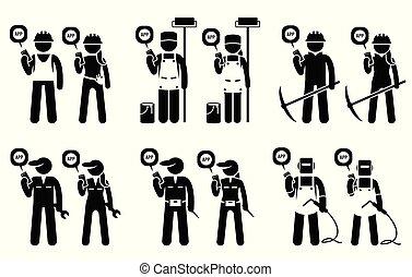 mining, ambulant, konstruktion, arbejdere, jobs., deres, bygmestre, bruge, industriel, app
