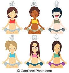 miscellaneous, gruppe, opstille, yoga, gravide