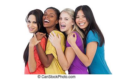 miscellaneous, le, kamera, kvinder, omfavne, unge