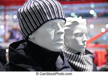 mode, mannequin, butik, mand