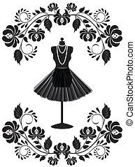 mode, ramme, halskæde, mannequin, blomstrede, skørt, card