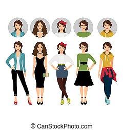 model, firmanavnet, forskellige, kvindelig, klæder