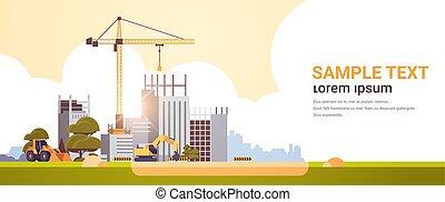 moderne bygge, arealet, ufuldendte, lejlighed, site, exterior, solnedgang, kopi, kraner, konstruktion, horisontale, traktor, baggrund, bulldozer