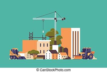 moderne bygge, ufuldendte, lejlighed, site, exterior, kraner, konstruktion, horisontale, traktor, bulldozer