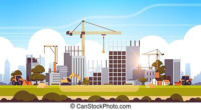 moderne bygge, ufuldendte, lejlighed, site, exterior, solnedgang, kraner, konstruktion, horisontale, traktor, baggrund, bulldozer