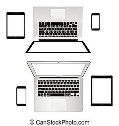 moderne, telefon, tablet, laptop