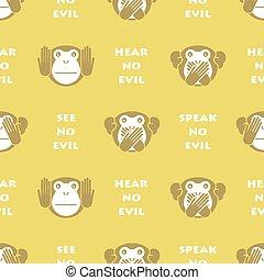 monkey., baggrund., klog, seamless