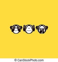 monkey., vektor, baggrund