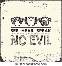 monkeys., vektor, klog, illustration.