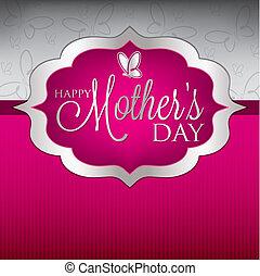 mor, format., herskabelig, vektor, dag, card