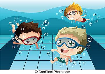 morskab, børn, har, pulje, svømning