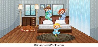 morskab, børn, har, tre, soveværelse