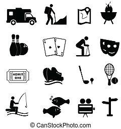 morskab, leisure, iconerne