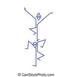 morsom, akrobater, abe, kneb, spille