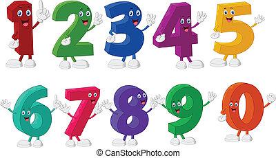 morsom, antal, bogstaverne, cartoon