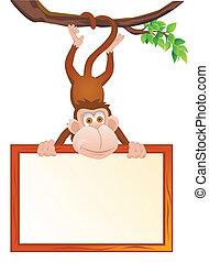 morsom, blank, abe, tegn
