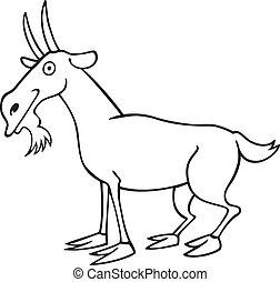 morsom, bog, coloring, goat