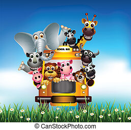 morsom, cartoon, dyr, gul vogn