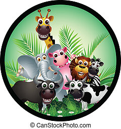 morsom, cartoon, dyr, samling