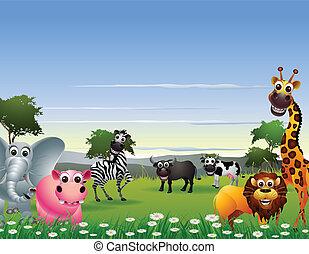 morsom, cartoon, dyr