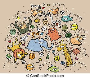 morsom, dyr, illustration., stram, objects:, hånd, vektor, illustration, mode!, eps10, komposition