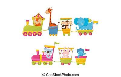 morsom, dyr, køre, tog, cartoon, vektor, illustration