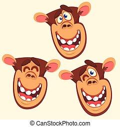 morsom, forskellige, sæt, hoveder, abe, lejlighed, isoleret, icons., tre, emotion., udtryk, vektor, illustration, hvid, firmanavnet, cartoon, aber