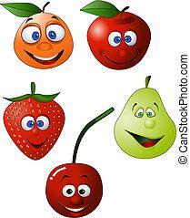 morsom, frugt, illustration