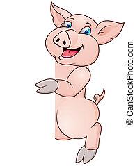 morsom, gris, tegn, blank, wiyh, cartoon